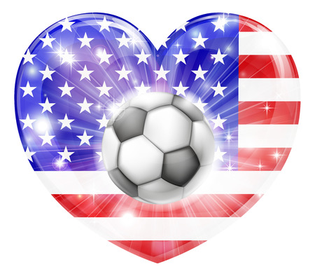 socer: America soccer football ball flag love heart concept with the American flag in a heart shape and a soccer ball flying out