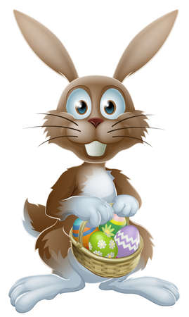 An Easter bunny rabbit holding a basket of decorated painted chocolate Easter eggs Vector