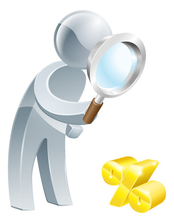 investigator: Percent sign magnifying glass person, man looking down at a percent sign with a magnifying glass Illustration