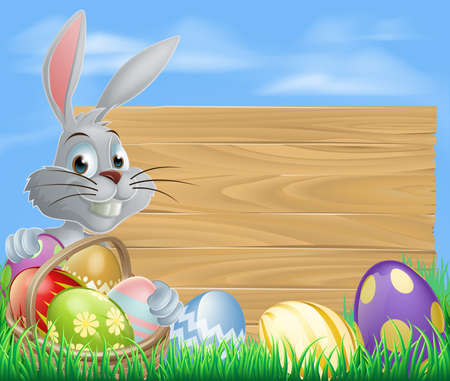 Easter bunny rabbit and sign with chocolate painted Easter eggs Vector