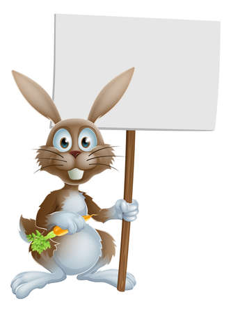 osterhase: Cartoon bunny rabbit holding a carrot and billboard sign Illustration