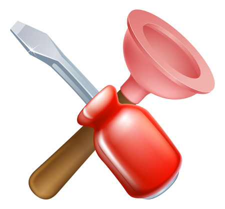 handy man: Attraversata pistone e attrezzi del cacciavite icona di strumenti di cartoni animati incrociate, costruzione o fai da te o il concetto di servizio