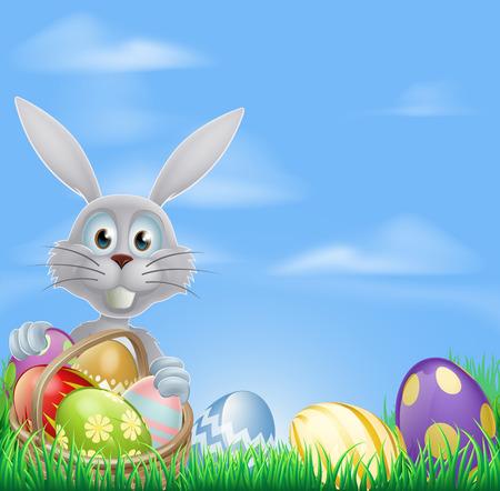 speelveld gras: De Paashaas met een mandje van Pasen eieren en een grasveld achtergrond Stock Illustratie