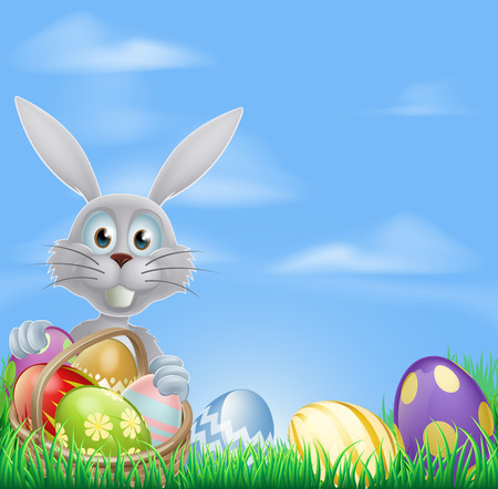 easter egg hunt: The Easter bunny with a basket of Easter eggs and a grass field background Illustration