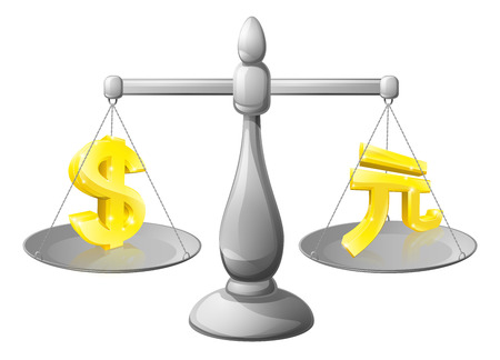 weighed: Scales currency concept, foreign exchange forex concept, dollar and yuan signs on scales being weighed against each other
