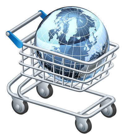 Shopping trolley globe concept, supermarket shopping cart with globe, could be a concept for internet shopping or other Vector