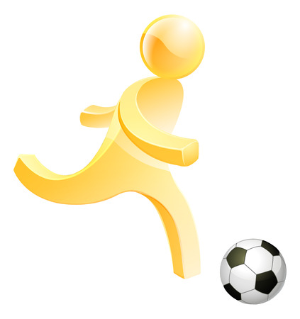 socer: Soccer football person, a stylised person about to kick a soccer or foot ball