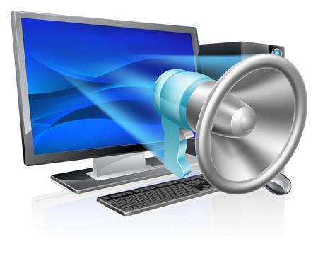 alertas: Un concepto meg�fono equipo de mega-tel�fono de volar fuera de la pantalla del ordenador o del monitor. Concepto para la comercializaci�n del Internet, el podcasting, alertas, noticias o similar Vectores