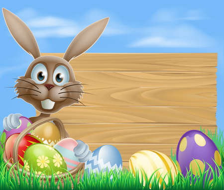 Easter sign with Easter bunny rabbit and Easter eggs Vector