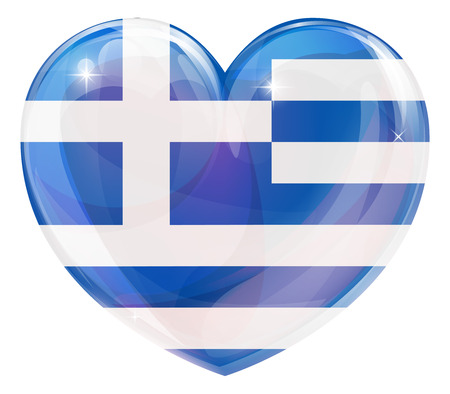 Greece flag love heart concept with the Greek flag in a heart shape  Vector