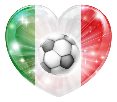 Italy soccer football ball flag love heart concept with the Italian flag in a heart shape and a soccer ball flying out  Vector