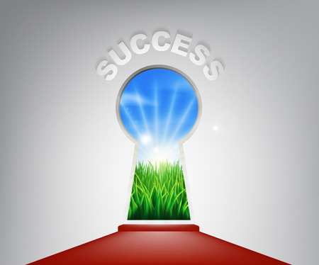 new opportunity: A conceptual illustration of a keyhole entrance to success opening onto a field of lush green grass. Concept for a new life or opportunity Illustration