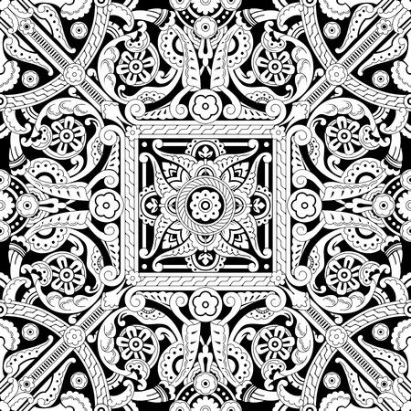 tilable: Illustrazione di un tilable senza soluzione di continuit� ripetendo islamica motivo vinatge intricato pattern