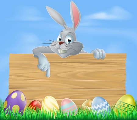 rabit: An illustration of the Easter bunny and wooden sign with Easter eggs