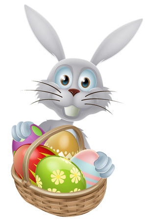 A white Easter bunny rabbit with a basket of decorated painted Easter eggs Vector