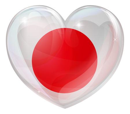 japan flag: Japan flag love heart concept with the Japanese flag in a heart shape