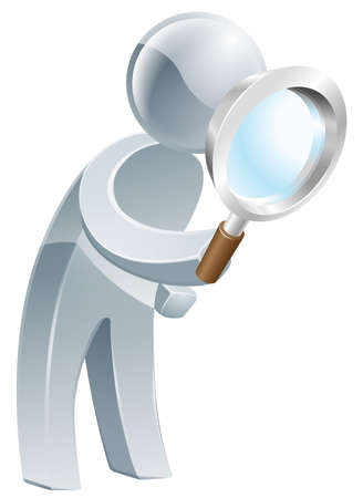 magnifying glass: An illustration of a silver man looking through a magnifying glass