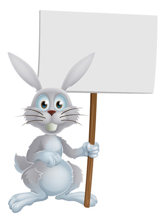 osterhase: Cartoon white Easter bunny rabbit holding a sign or banner