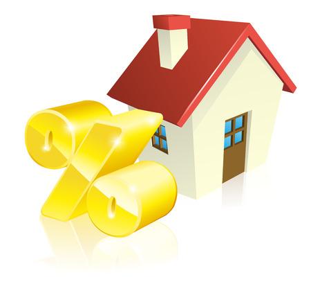 prozentzeichen: Haus Prozent Hypothek Konzept der Haus-und Gold Prozent-Zeichen