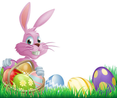 Pink Easter eggs bunny rabbit with a wicker basket full of chocolate painted Easter eggs Vector