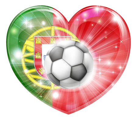 bal: Portugal soccer football ball flag love heart concept with the Portuguese flag in a heart shape and a soccer ball flying out