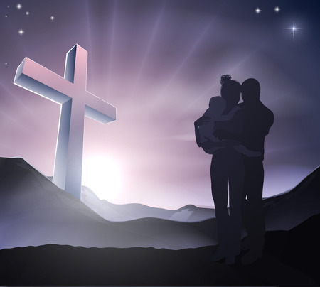 A loving Christian family with a cross in a mountain landscape with sunrise over mountains, Christian lifestyle or Easter concept Vector