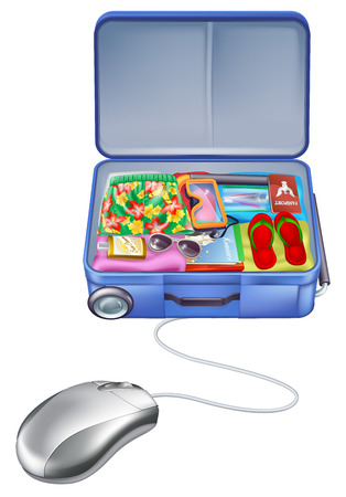 Holiday vacation suitcase mouse concept, shopping online for the perfect holiday vacation package