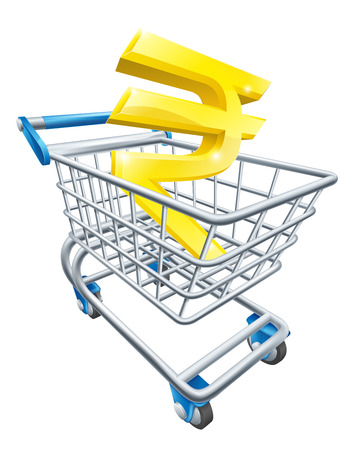super market: Rupee currency trolley concept of Rupee sign in a supermarket shopping cart or trolley