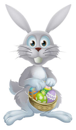 An illustration of a white Easter bunny rabbit holding a basket of decorated painted chocolate Easter eggs