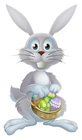 osterhase: Eine Illustration von einem wei�en Kaninchen Osterhase mit einem Korb von dekorierten gemalt Schokoladeneier Illustration