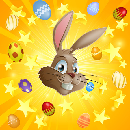 ester: An Easter rabbit and chocolate eggs illustration with the Easter bunny's face in the centre