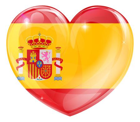 Spain flag love heart concept with the Spanish flag in a heart shape  Vector