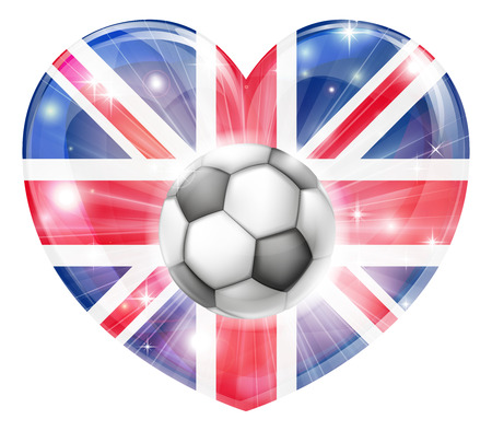 socer: Britain soccer football ball flag love heart concept with the British flag in a heart shape and a soccer ball flying out