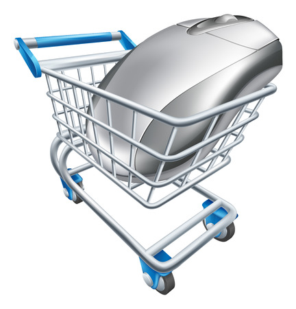 comerce: A computer mouse in a shopping trolley or cart. Concept for internet shopping online or buying technology