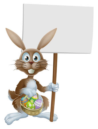 eater: Easter rabbit holding a sign and a basket of chocolate painted Easter eggs