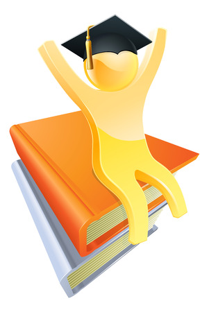 An illustration of a gold character sitting on a stack of books wearing a gradates mortar board  Vector