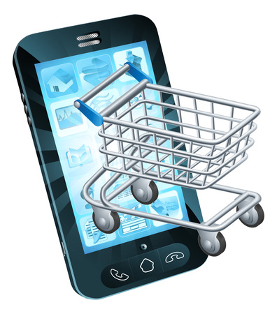 groceries shopping: Shopping cart cell phone concept of a mobile phone with a shopping trolley coming out