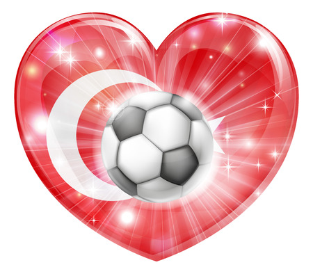 bal: Turkey soccer football ball flag love heart concept with the Turkish flag in a heart shape and a soccer ball flying out