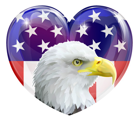 Eagle America love heart concept with and American bald eagle in front of a stars and stripes heart Vector