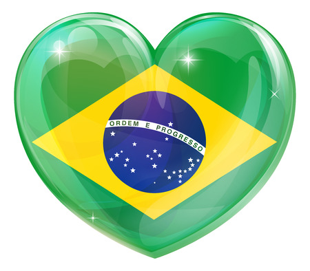 Brazil flag love heart concept with the Brazilian flag in a heart shape  Vector