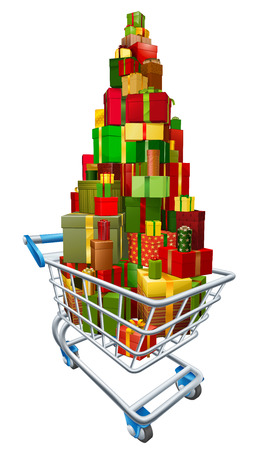 Gift present trolley shopping cart full of a big stack of wrapped gifts Vector