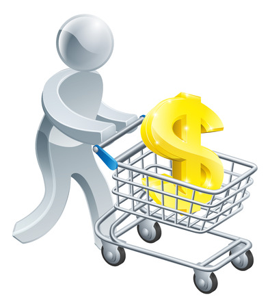 Shoping: A person pushing a shopping cart or trolley with a large dollar sign in it, could be shopping for investment