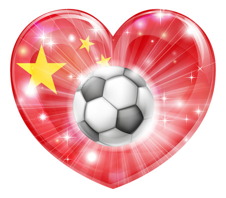 supporter: China soccer football ball flag love heart concept with the Chinese flag in a heart shape and a soccer ball flying out