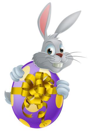 выглядывал: Белый Пасхальный кролик выглядывал вокруг гигантского пасхального яйца Иллюстрация