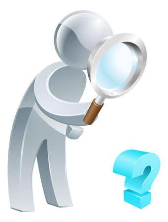 lupa: Preguntas concepto de una persona en busca de respuestas a sus preguntas