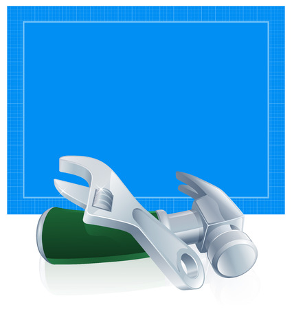 spaner: Tools blueprint construction building trade of blue blueprint paper and hammer and spanner wrench tools Illustration