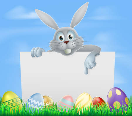 White Easter bunny peeking over a sign and pointing with Easter eggs in a spring field Vector