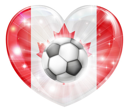 socer: Canada soccer football ball flag love heart concept with the Canadian flag in a heart shape and a soccer ball flying out