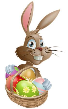 Un lapin de Pâques avec un panier d'oeufs de Pâques décorés