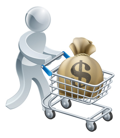 Money shopping cart trolley of a person pushing shopping cart or trolley with a large sack of money in it. Vector
